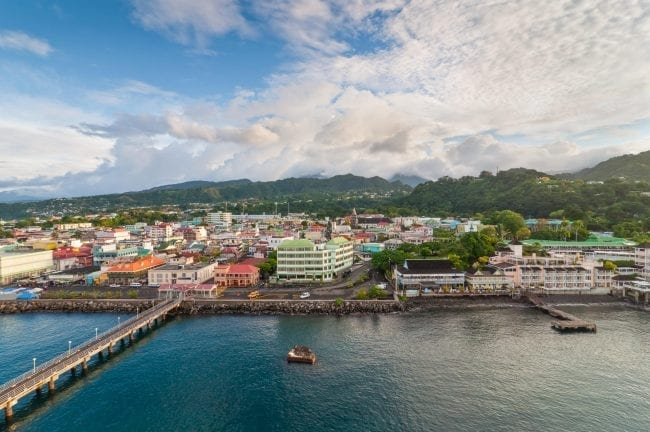 A panorama of Roseau, capital of Dominica, taken from a ship overlooking the city.